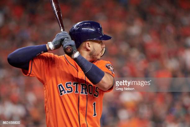 ALCS Playoffs Houston Astros Carlos Correa during at bat vs New York Yankees at Minute Maid Park Game 1 Houston TX CREDIT Greg Nelson