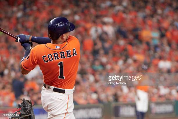 ALCS Playoffs Houston Astros Carlos Correa in action at bat vs New York Yankees at Minute Maid Park Game 1 Houston TX CREDIT Greg Nelson