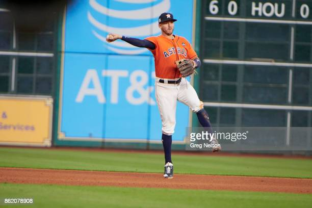 ALCS Playoffs Houston Astros Carlos Correa in action throwing vs New York Yankees at Minute Maid Park Game 1 Houston TX CREDIT Greg Nelson