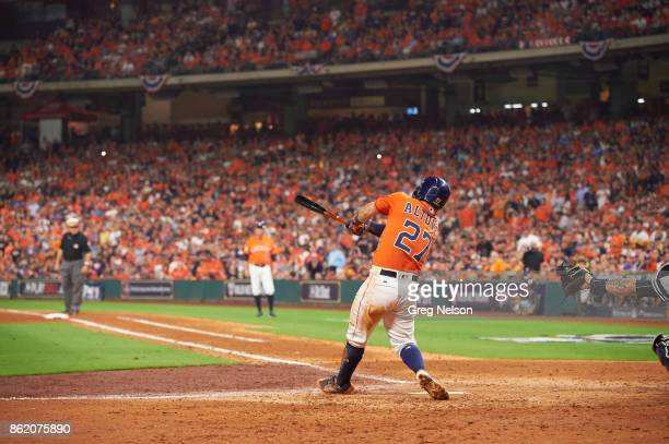 ALCS Playoffs Houston Astros Jose Altuve in action at bat vs New York Yankees at Minute Maid Park Game 1 Houston TX CREDIT Greg Nelson