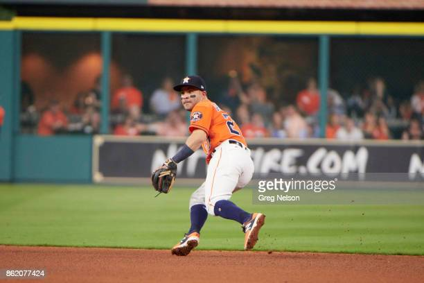 ALCS Playoffs Houston Astros Jose Altuve in action fielding vs New York Yankees at Minute Maid Park Game 1 Houston TX CREDIT Greg Nelson
