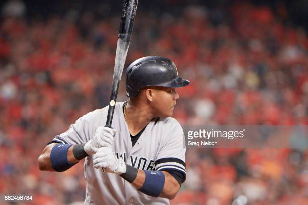 ALCS Playoffs New York Yankees Aaron Hicks during at bat vs Houston Astors at Minute Maid Park Game 1 Houston TX CREDIT Greg Nelson