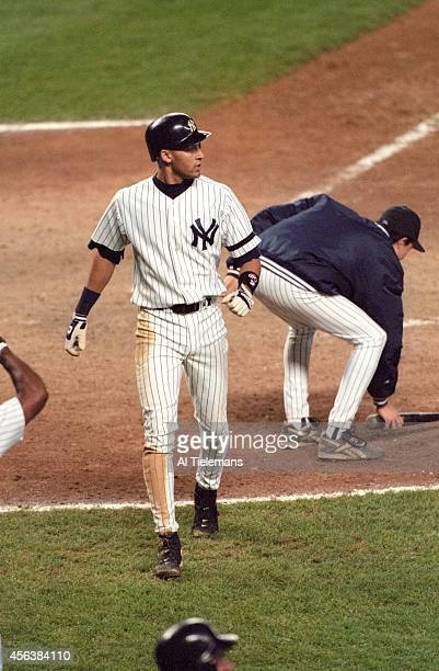 ALCS Playoffs New York Yankees Derek Jeter after hitting home run vs Baltimore Orioles at Yankee Stadium Bronx NY CREDIT Al Tielemans
