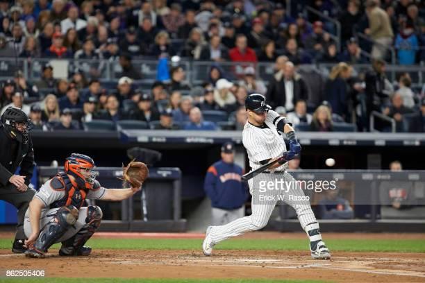 ALCS Playoffs New York Yankees Gary Sanchez in action at bat vs Houston Astros at Yankee Stadium Game 3 Bronx NY CREDIT Erick W Rasco