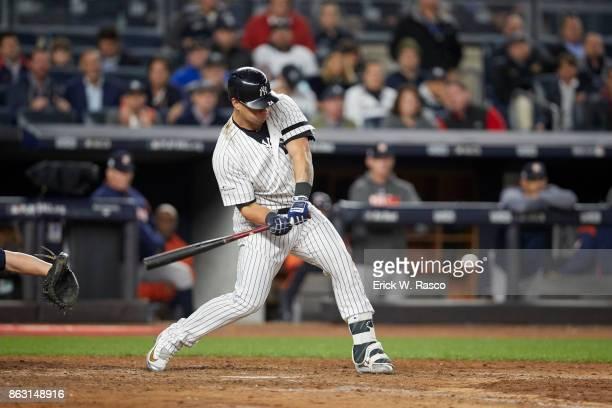 ALCS Playoffs New York Yankees Gary Sanchez in action at bat vs Houston Astros at Yankee Stadium Game 4 Bronx NY CREDIT Erick W Rasco