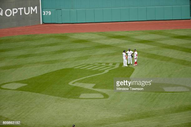 ALDS Playoffs Aerial view of Boston Red Sox Andrew Benintendi Jackie Bradley Jr and Mookie Betts in outfield during game vs Houston Astros at Fenway...