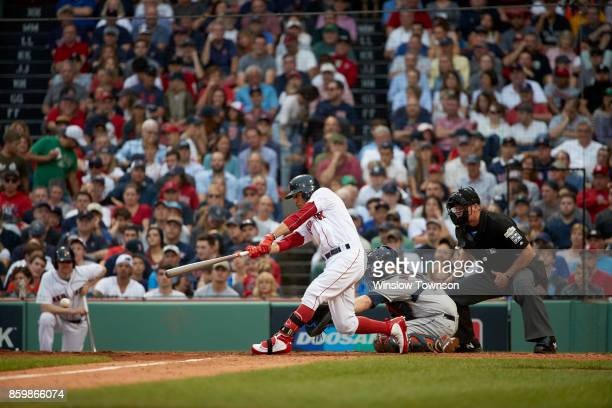 ALDS Playoffs Boston Red Sox Mookie Betts in action at bat vs Houston Astros at Fenway Park Game 3 Boston MA CREDIT Winslow Townson