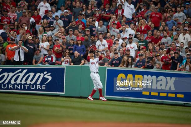 ALDS Playoffs Boston Red Sox Mookie Betts in action fielding vs Houston Astros at Fenway Park Game 3 Boston MA CREDIT Winslow Townson