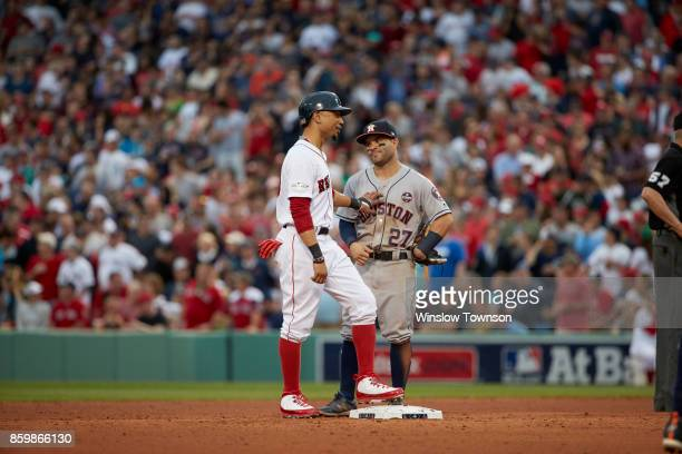 ALDS Playoffs Boston Red Sox Mookie Betts with Houston Astros Jose Altuve at second base during game at Fenway Park Game 3 Boston MA CREDIT Winslow...