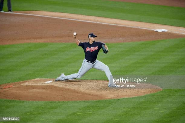 ALDS Playoffs Cleveland Indians Carlos Carrasco in action pitching vs New York Yankees at Yankee Stadium Game 3 Bronx NY CREDIT Erick W Rasco