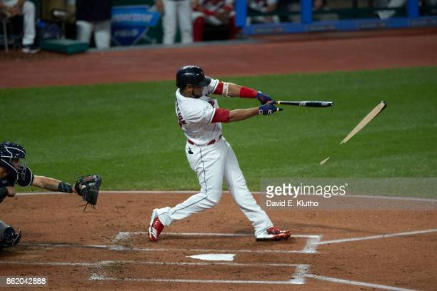 ALDS Playoffs Cleveland Indians Edwin Encarnacion in action at bat vs New York Yankees at Progressive Field Game 1 Encarnacion with broken bat...