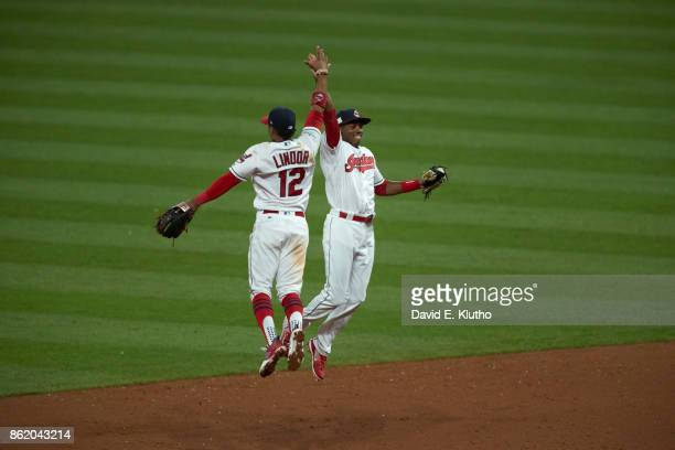ALDS Playoffs Cleveland Indians Francisco Lindor victorious with Greg Allen after winning game vs New York Yankees at Progressive Field Game 1...