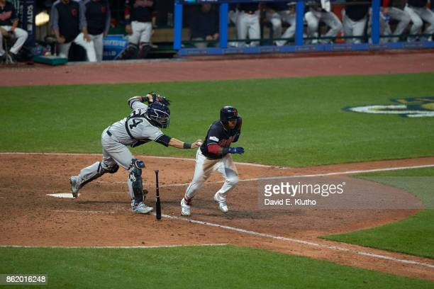 ALDS Playoffs Cleveland Indians Jose Ramirez in action running bases vs New York Yankees Gary Sanchez at Progressive Field Game 2 Cleveland OH CREDIT...