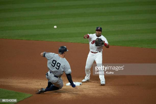 ALDS Playoffs Cleveland Indians Jose Ramirez in action throwing vs New York Yankees at Progressive Field Game 1 Sequence Cleveland OH CREDIT David E...