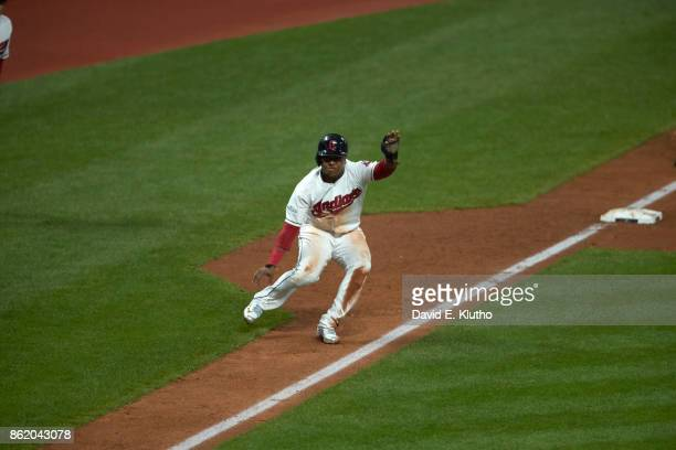 ALDS Playoffs Cleveland Indians Jose Ramirez in action running bases vs New York Yankees at Progressive Field Game 1 Cleveland OH CREDIT David E...