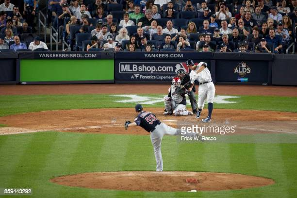 ALDS Playoffs New York Yankees Aaron Judge in action at bat vs Cleveland Indians Carlos Carrasco at Yankee Stadium Game 3 Bronx NY CREDIT Erick W...