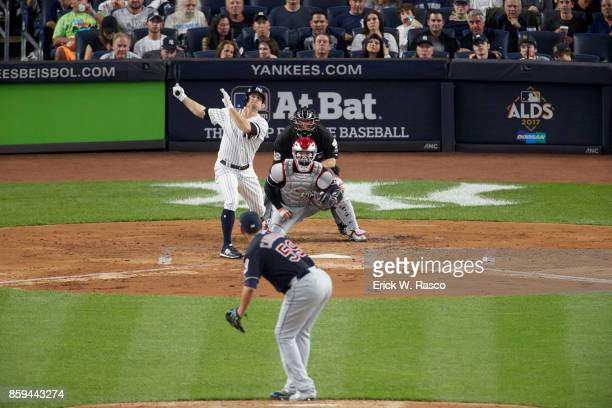 ALDS Playoffs New York Yankees Brett Gardner in action at bat vs Cleveland Indians Carlos Carrasco at Yankee Stadium Game 3 Bronx NY CREDIT Erick W...