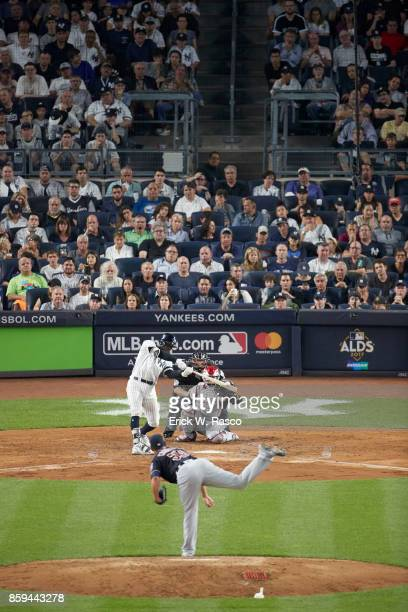 ALDS Playoffs New York Yankees Didi Gregorius in action at bat vs Cleveland Indians Carlos Carrasco at Yankee Stadium Game 3 Bronx NY CREDIT Erick W...