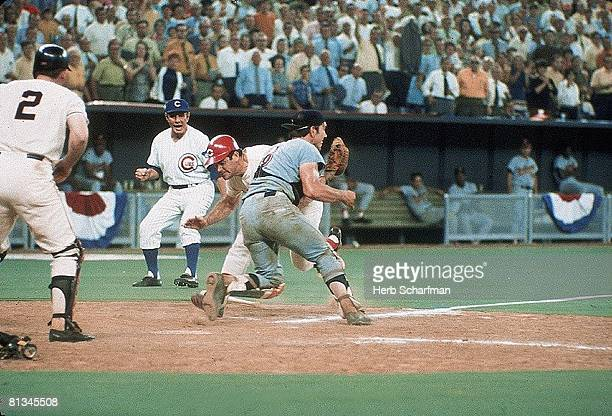 Baseball All Star Game Cincinnati Reds Pete Rose in action scoring winning run during home plate collision vs Cleveland Indians Ray Fosse Cincinnati...