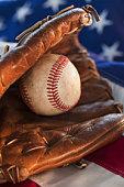Baseball and American flag