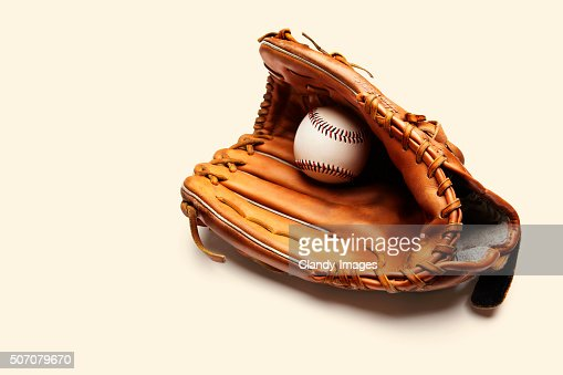 Baseball and catchers glove : Stock Photo