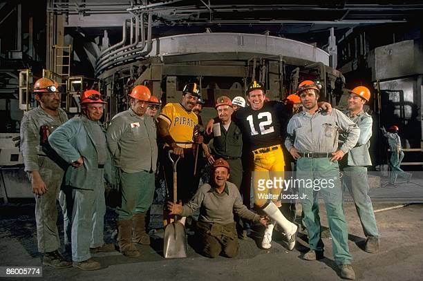 Sportsmen of the Year Portrait of Pittsburgh Pirates Willie Stargell and Pittsburgh Steelers QB Terry Bradshaw with workers at Jones Laughlin steel...