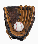 Baseball and baseball glove isolated on white, includes clipping path