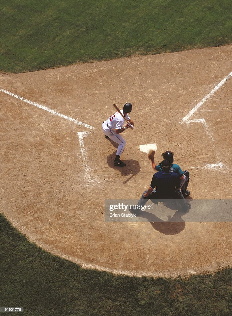 Baseball at Home Plate : Stock Photo
