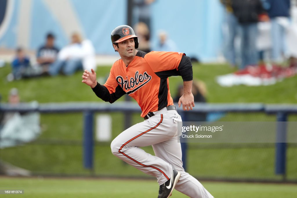 Baltimore Orioles Conor Jackson (36) in action, running bases vs Tampa Bay Rays during spring training game at Charlotte Sports Park. Chuck Solomon F101 )