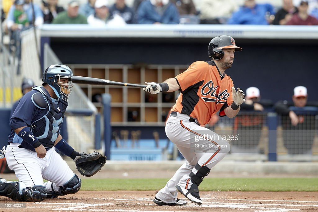Baltimore Orioles Jason Pridie (72) in action, at bat vs Tampa Bay Rays during spring training game at Charlotte Sports Park. Chuck Solomon F21 )