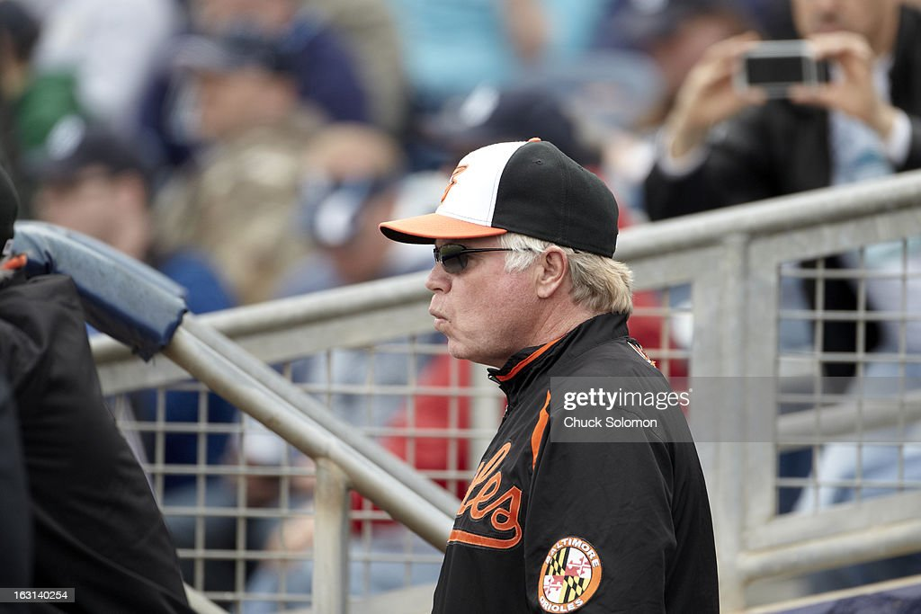 Baltimore Orioles manager Buck Showalter (26) during spring training game vs Tampa Bay Rays at Charlotte Sports Park. Chuck Solomon F34 )