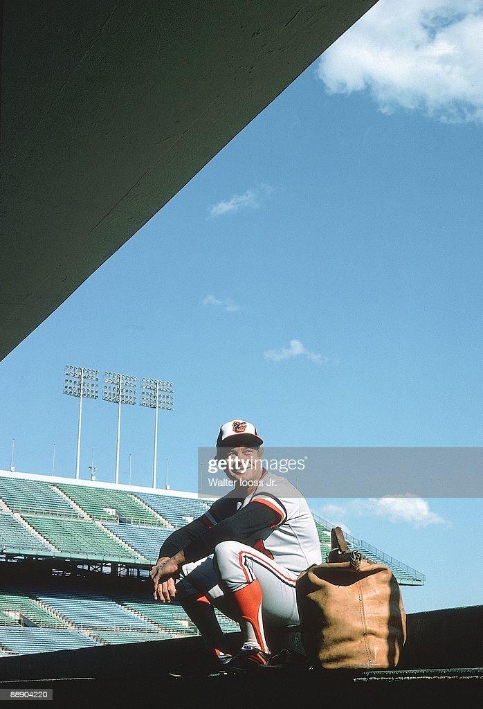 Baltimore Orioles manager Earl Weaver (4) in dugout at Metropolitan Stadium before game vs Minnesota Twins. Bloomington, MN 6/14/1975