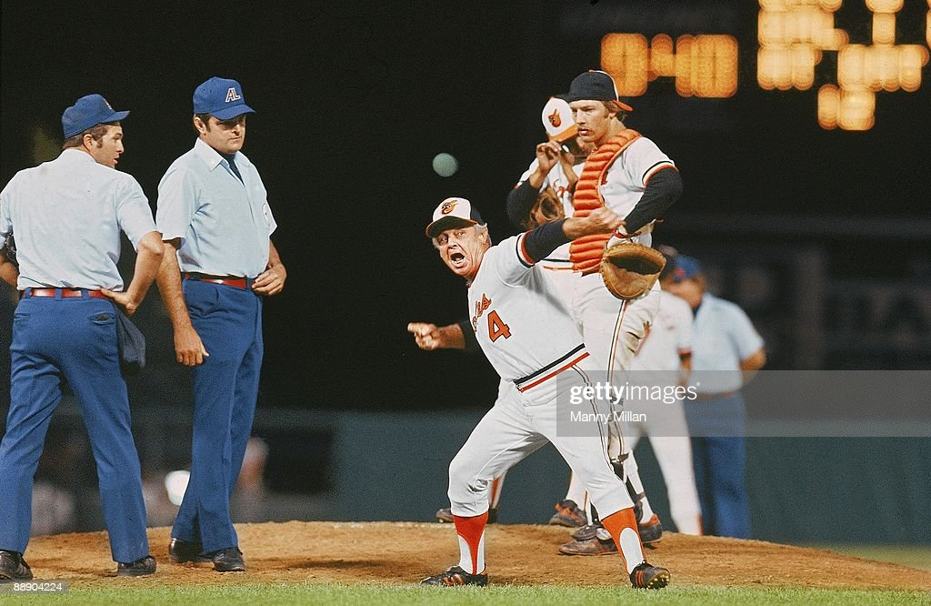 Baltimore Orioles manager Earl Weaver (4) upset with umpires and tossing himself out of game while on field during game vs Chicago White Sox. Baltimore, MD 8/25/1977