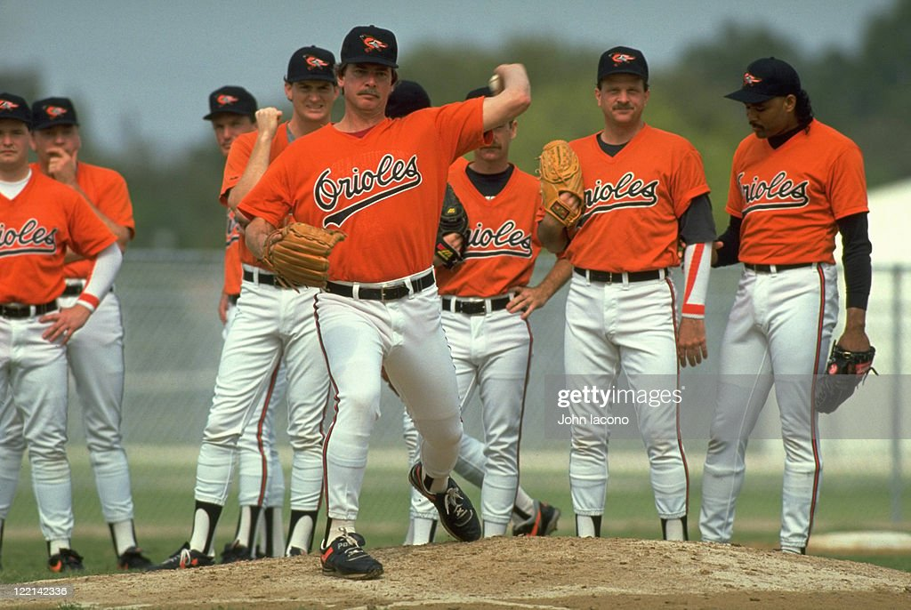 Baltimore Orioles Mike Flanagan in action pitching during spring training workout for pitchers and catchers at Twin Lakes Park facility View of...