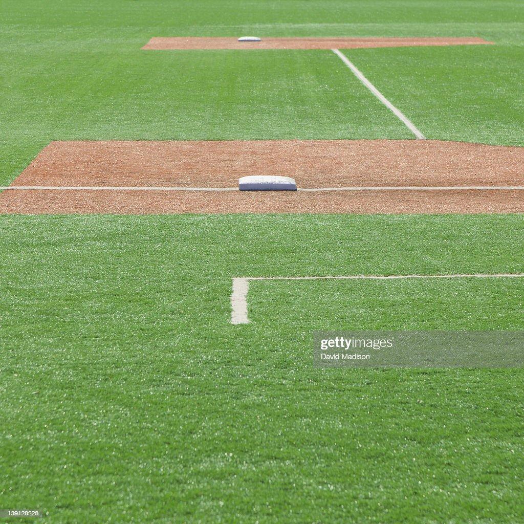 Baseball bases and base lines. : Stock Photo
