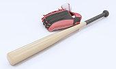 Baseball Bat, Baseball Glove and Baseball Ball On White Background ( 3d render )