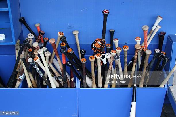Baseball bats are seen during the game against the Baltimore Orioles at Florida Auto Exchange Stadium on March 4 2016 in Dunedin Florida