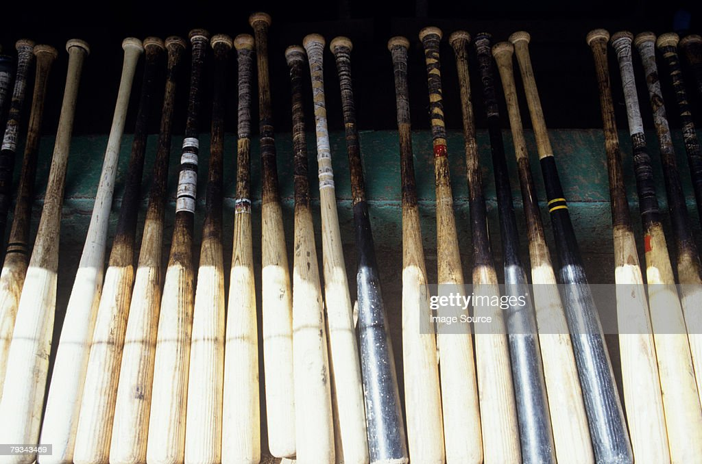 Baseball bats in a row