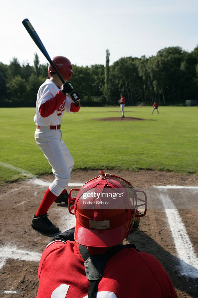 Baseball batter and catcher in the field