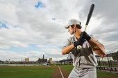Baseball batter concentrating