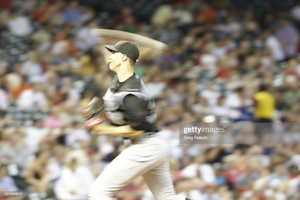 Blur of Colorado Rockies Ubaldo Jimenez (38) in action, pitching vs Houston Astros. Houston, TX 5/20/2010