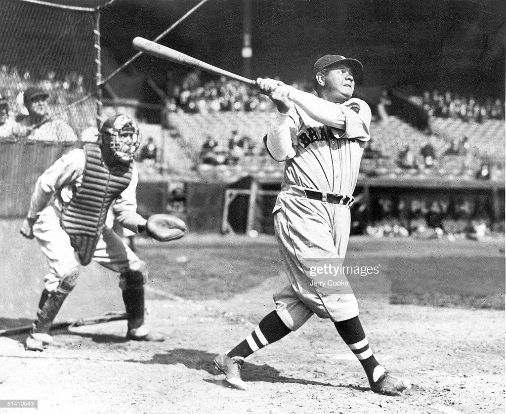 Baseball Boston Braves Babe Ruth in action at bat during batting practice 1/1/1935