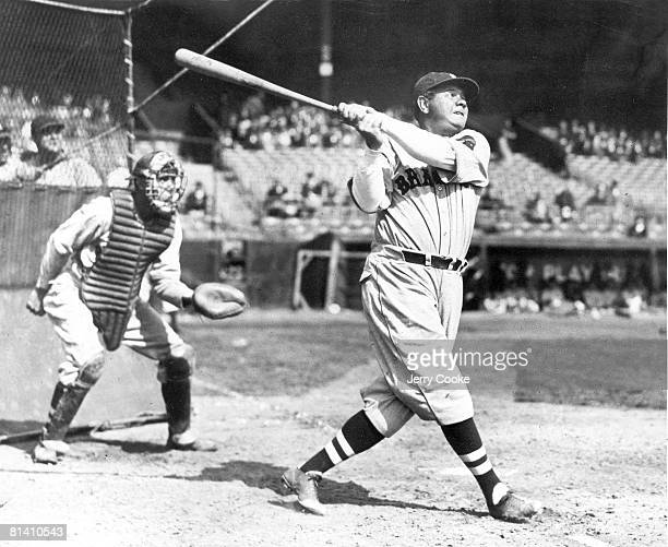 Baseball Boston Braves Babe Ruth in action at bat during batting practice 1/1/1935