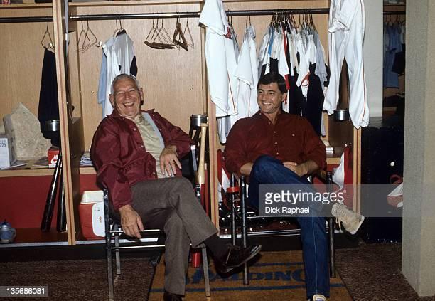 Boston Red Sox Carl Yastrzemski with father Carl Sr in locker room at Fenway Park Boston MA CREDIT Dick Raphael