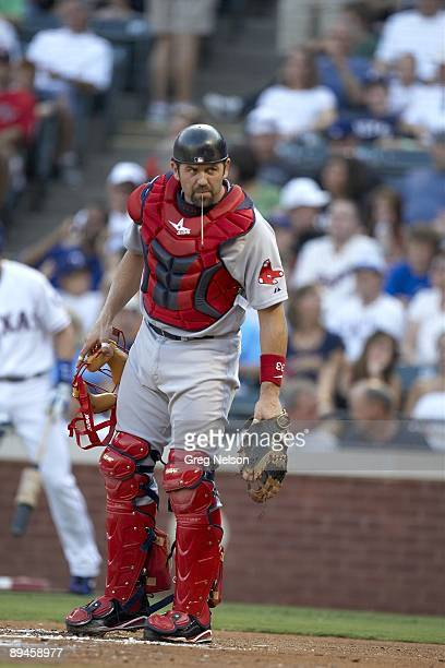 Boston Red Sox Jason Varitek spitting during game vs Texas Rangers Arlington TX 7/21/2009 CREDIT Greg Nelson