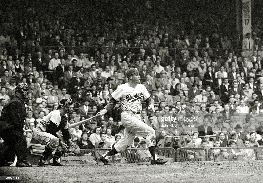 Brooklyn Dodgers Duke Snider (4) in action, at bat. home run vs Pittsburgh Pirates at Forbes Field. Dodgers win pennant.Pittsburgh, PA 9/23/1956CREDIT: John G. Zimmerman