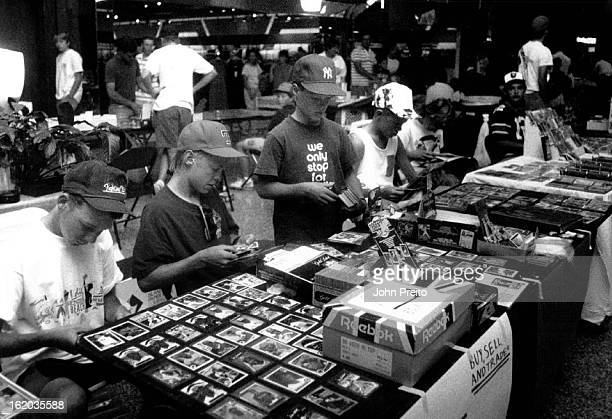7291990 7301990 Baseball Cards North Valley small kids only baseball card show overall shot of kids at there tables loaded with many cards to trade...