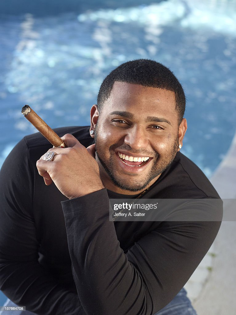 Casual closeup portrait of San Francisco Giants Pablo Sandoval posing during photo shoot at his home. Jeffery A. Salter F152 )