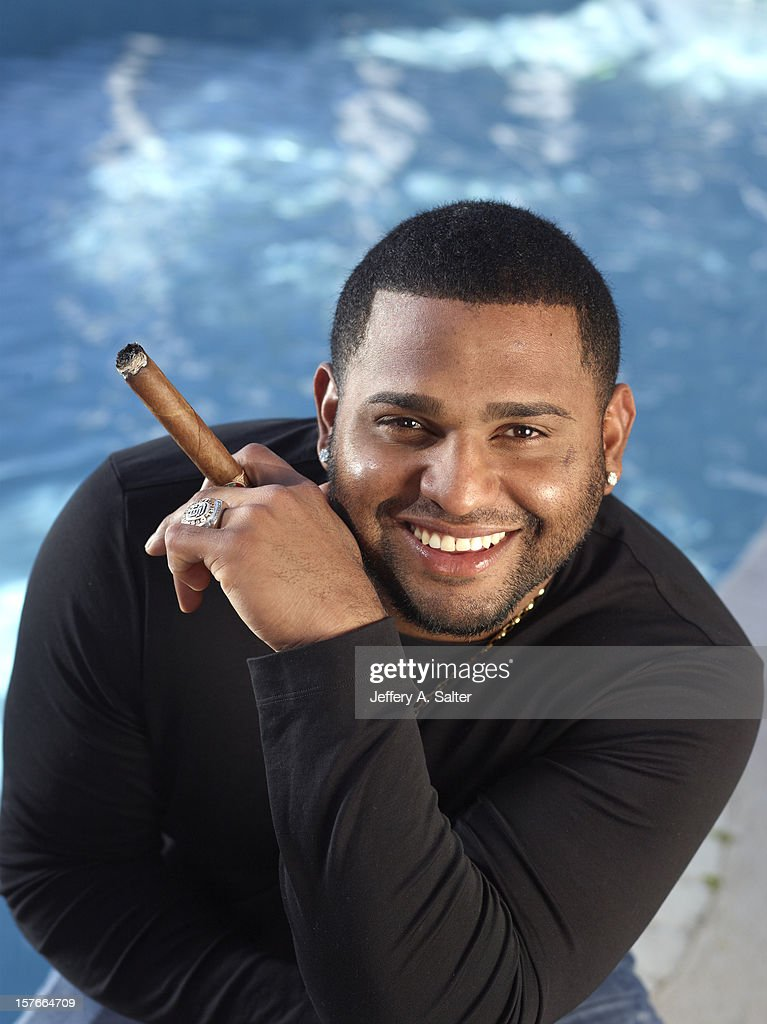 Casual closeup portrait of San Francisco Giants Pablo Sandoval posing during photo shoot at his home. Jeffery A. Salter F153 )