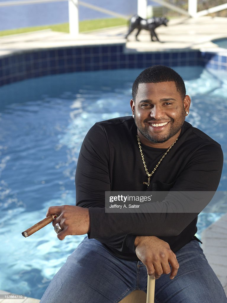 Casual closeup portrait of San Francisco Giants Pablo Sandoval posing during photo shoot at his home. Jeffery A. Salter F166 )